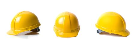 construction helmet: Yellow helmets set isolated on white background