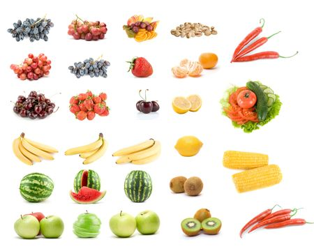 Set of fruits and vegetables isolated on white background Stock Photo - 5576849