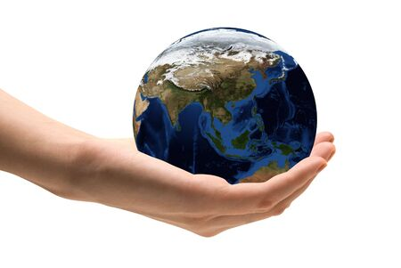 Human hand holding the world in hands Map data source - nasa web site Stock Photo - 5616020