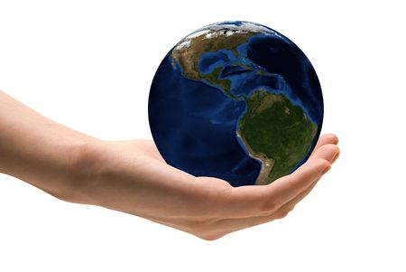 Human hand holding the world in hands. Take care the earth concept Stock Photo - 5637278