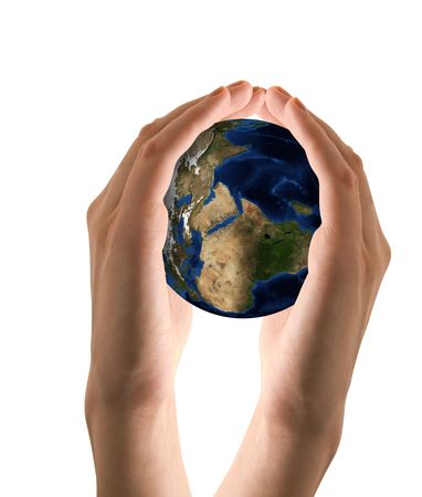 Human hand holding the world in hands. Take care the earth concept Stock Photo - 5637298