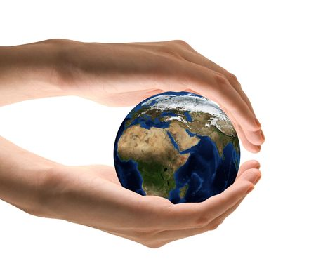 Take care the earth concept. Human hand holding the world in hands. Stock Photo - 5688398