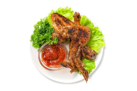 fried chicken wings with vegetables and sauce Stock Photo - 5736963