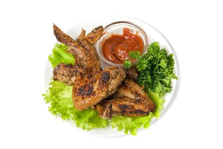 fried chicken wings with vegetables and sauce Stock Photo - 5751409