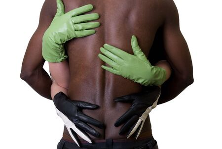Two girl embrace black man at gloves on white photo