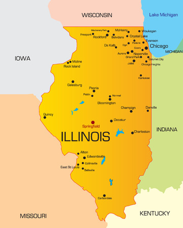Vector color map of Illinois state. Usa