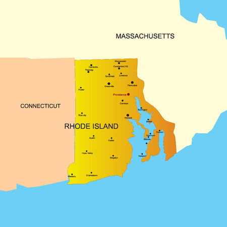 boundary: Vector color map of Rhode Island state. Usa