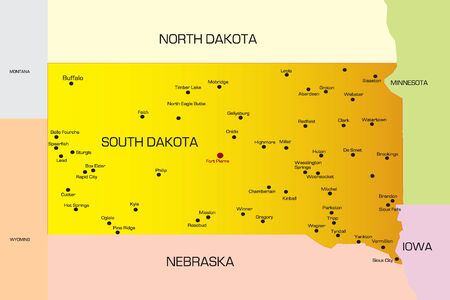 sioux: Vector color map of South Dakota state. Usa