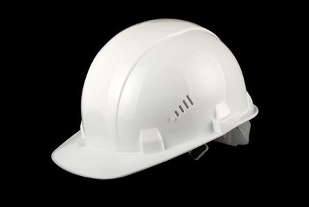 hard working people: White helmet isolated on a black background Stock Photo