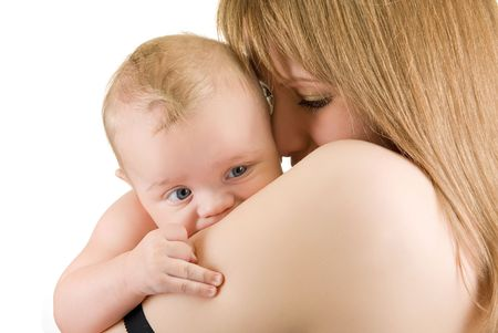 maternity: mother with her baby boy isolated on a white Stock Photo - 5964452