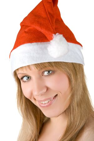 Beautiful santa girl isolated on white background photo