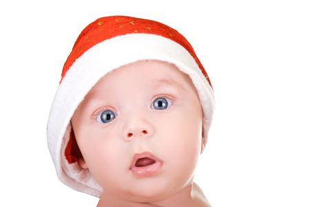baby christmas: Beautiful santa baby boy on isolated  a white background