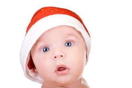 Beautiful santa baby boy on isolated  a white background Stock Photo - 6017265
