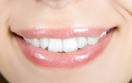 Smiling woman mouth with white teeth closeup Stock Photo - 6027263
