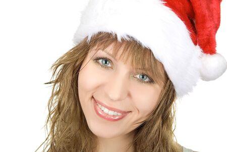 happy santa festive woman isolated on white background photo
