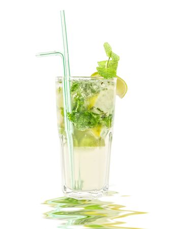 mojito alcohol fresh cocktail with lemon and lime isolated on a white  photo