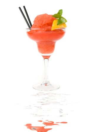 Fresh cocktail with watermelon, lemon and mint isolated on white photo