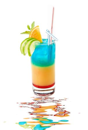 liqueur: Fresh cocktail with lime, orange and mint decorated isolated on white background