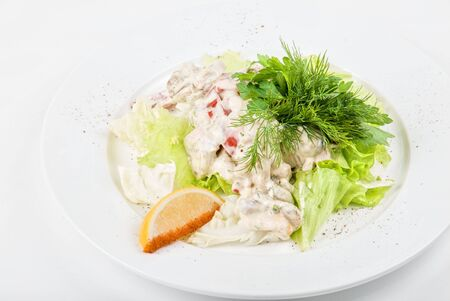 Tasty salad of seafood and vegetable dish close up on a white background Stock Photo - 6126362