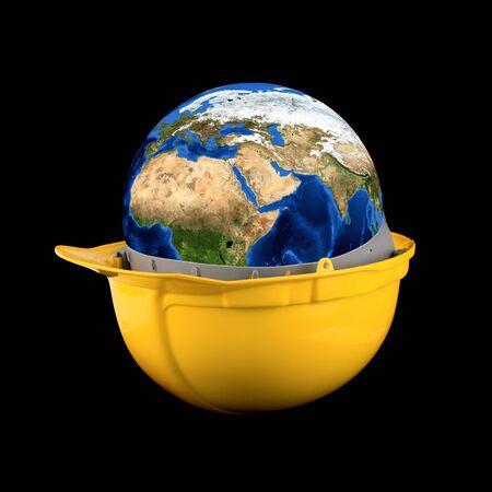 empleados trabajando: Casco amarillo con tierra planeta aislado en un fondo negro