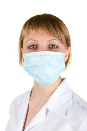 Closeup of a female doctor wearing a protection mask   photo