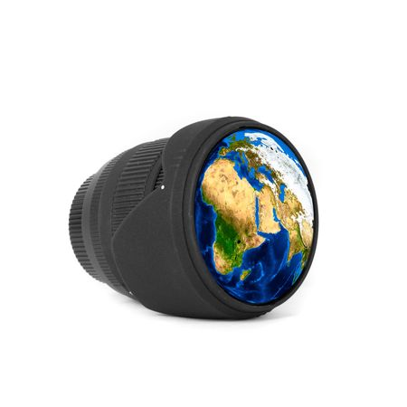 Lens with Earth reflected isolated on a white photo