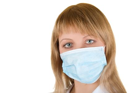Closeup of a girl wearing a protection mask   photo