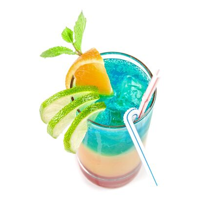 Alcoholic cocktail with lime, orange and mint decorated  isolated on white background Stock Photo - 6208633