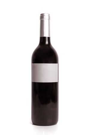 Bottle of red wine isolated on a white background.   photo