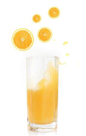 orange juice with fruits isolated on a white background photo