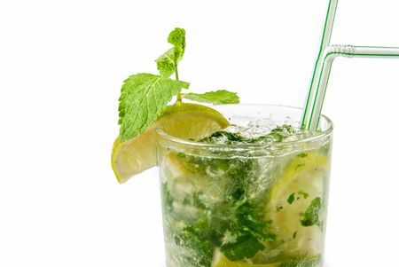 classic mojito alcohol fresh cocktail closeup isolated on a white Stock Photo - 6320243