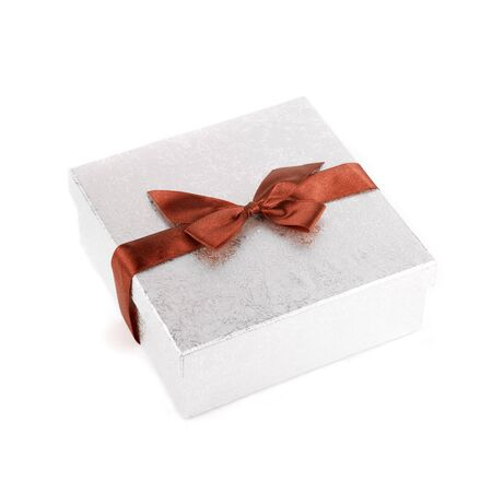 Red gift box close up isolated on white background photo