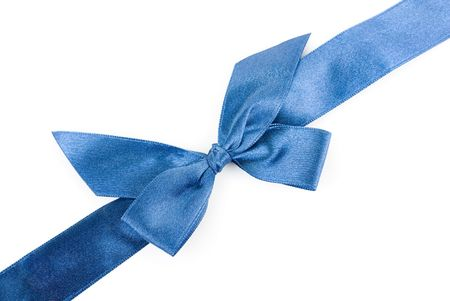 blue holiday ribbon on white background Stock Photo - 6357468