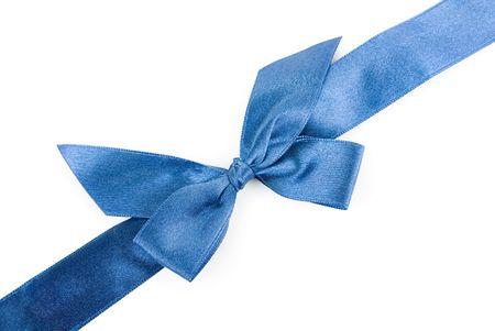 blue holiday ribbon on white background photo
