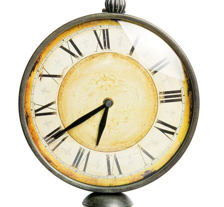 old vintage clock closeup isolated on a white background