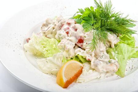 Tasty salad of seafood and vegetable dish close up Stock Photo - 6357470