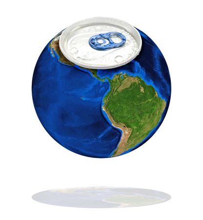 Earth planet as aluminum can isolated on a white photo
