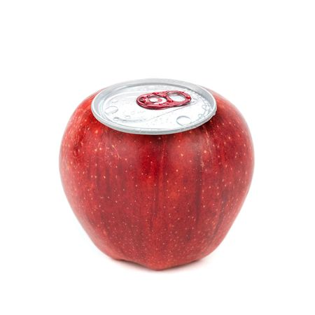 red ripe apple with metallic can isolated on white background photo
