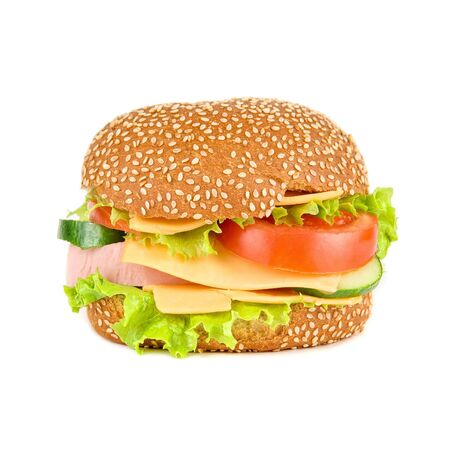 tasty hamburger isolated on a white background photo