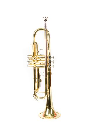 fanfare: trumpet closeup isolated on a white background