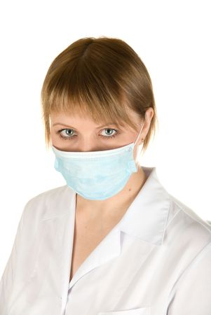 respiratory apparatus: Closeup of a female healthcare professional nurse wearing a protection mask Stock Photo
