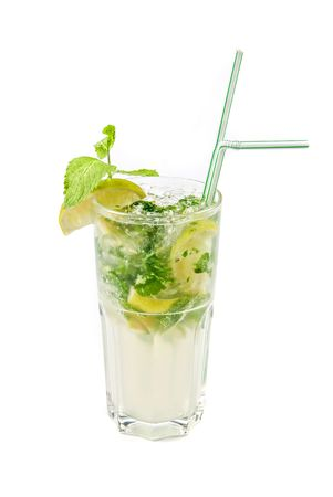 mojito alcohol fresh cocktail isolated on a white photo
