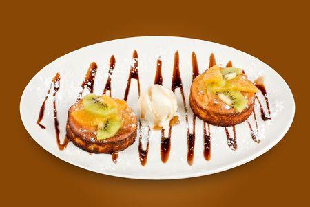 splurge: Tasty dessert with ice cream on a brown gradient background Stock Photo
