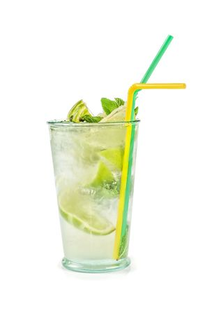 Fresh mojito cocktail isolated on a white bacground photo