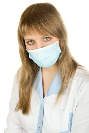Closeup of a female healthcare professional nurse wearing a protection mask Stock Photo - 6713597