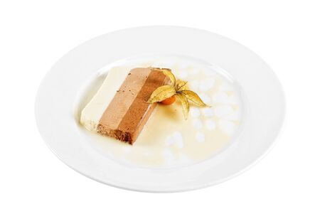 tiramisu dessert with ground-cherry closeup on a white photo