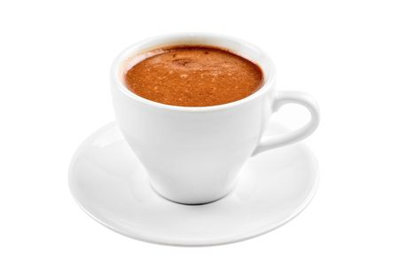 cup of hot chocolate isolated on a white background photo
