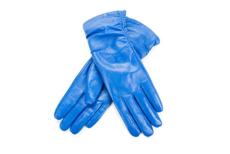 furskin: Blue modern female leather gloves isolated on a white Stock Photo
