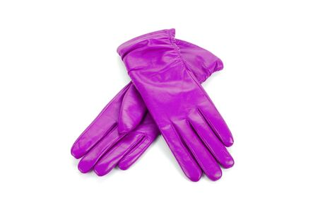 furskin: Purple modern female leather gloves isolated on a white