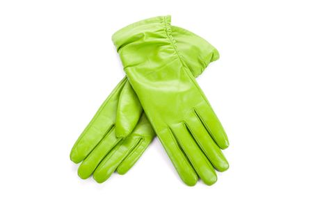 furskin: Green modern female leather gloves isolated on a white